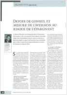 Photo du livre blanc : Devoir de conseil et mesure de l'aversion au risque de l'épargnant